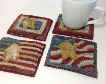 Mug Rug Coasters Locker Hooked in a Mix of Colors Set of 2