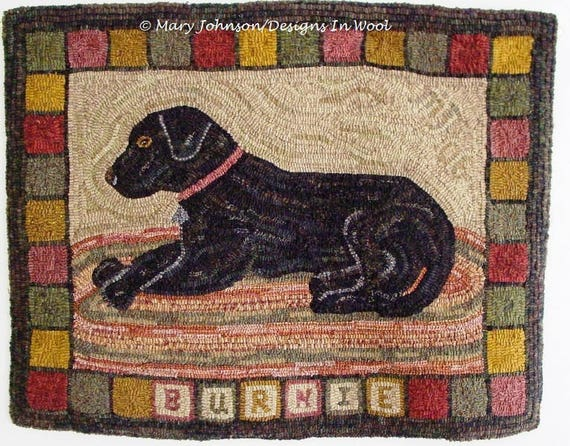 "Rug Hooking PATTERN, Burnie the Labrador, 24"" x 32"", J630, Hooked Dog Rug, Black Dog Rug, Primitive Hooked Rug Pattern"