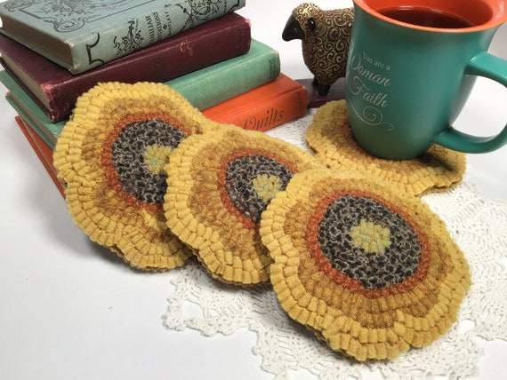 Finished Set of Four, Sunflower Mug Rugs, designed and hooked by Mary Johnson, H101, OOAK primitive hooked coasters