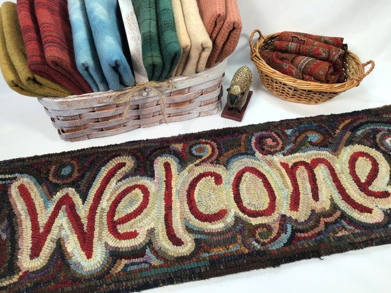 "Rug Hooking PATTERN, Primitive Welcome, 10"" x 36"", P144, DIY Welcome Rug Hooking Pattern"
