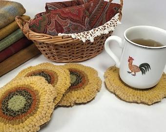 Rug Hooking PATTERN, Sunflower Mug Rugs, P199, DIY Primitive Rug Hooking design, Sunflower Coasters