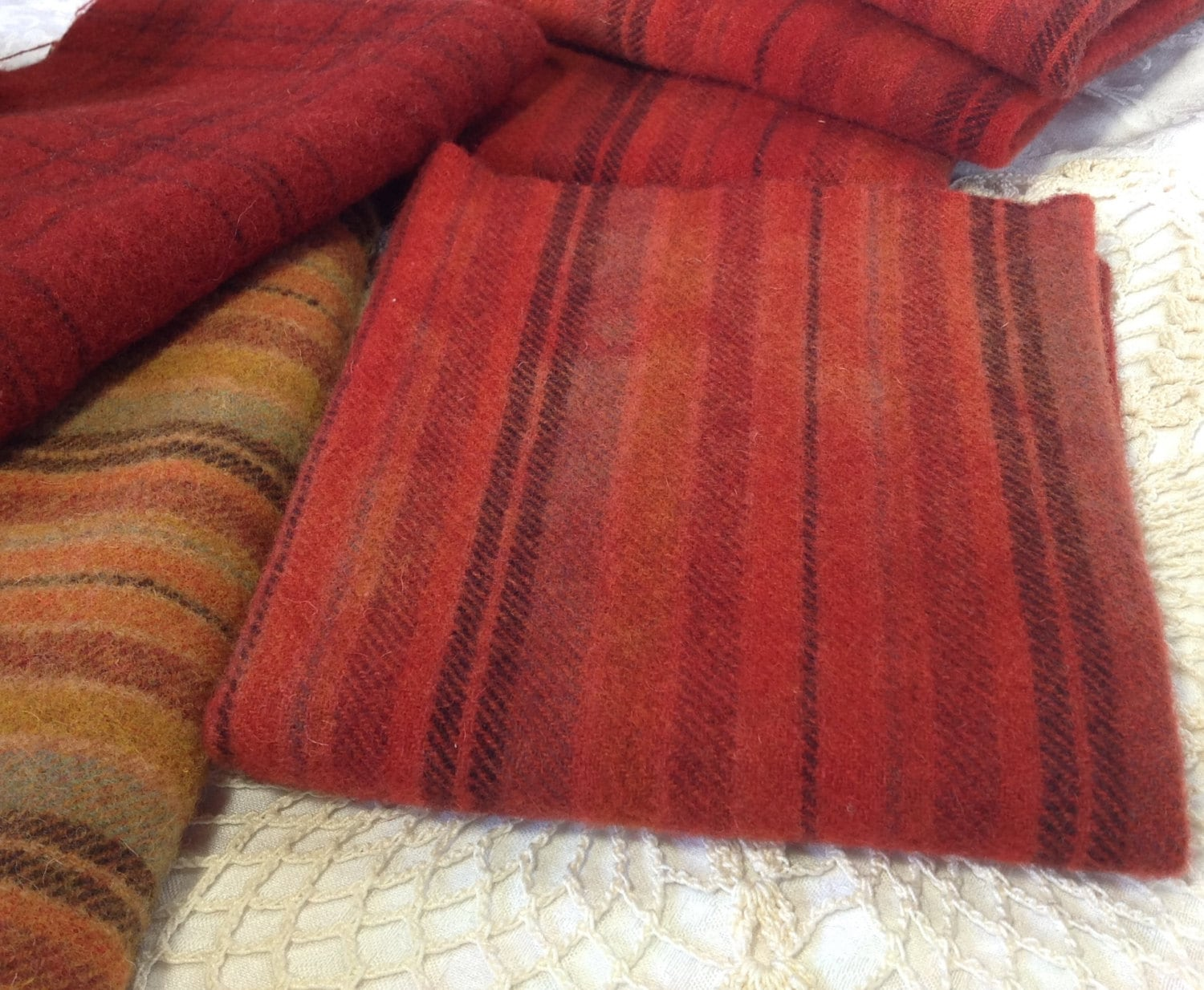 Red Orange Striped Wool 1 Fat Quarter Hand Dyed For Rug