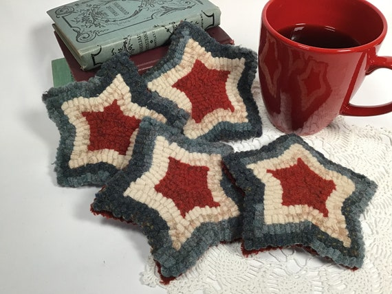 Finished Set of Four, Star Mug Rugs, designed and hooked by Mary Johnson, H104, OOAK primitive hooked coasters