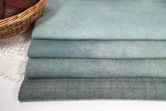 Sky Blues, 4) Fat Eighths, Hand Dyed Wool for Rug Hooking and Applique, W541, soft blue textures, robin's egg blues
