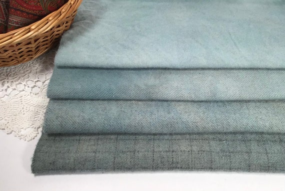 Sky Blues, 4) Fat Eighths, Hand Dyed Wool for Rug Hooking and Applique, W541, soft blue textures, summer blues