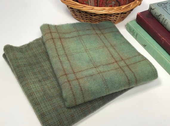 Magnolia Green, 2) fat 1/4 yards, Hand dyed Wool for Rug Hooking and Applique, W626, primitive green plaids