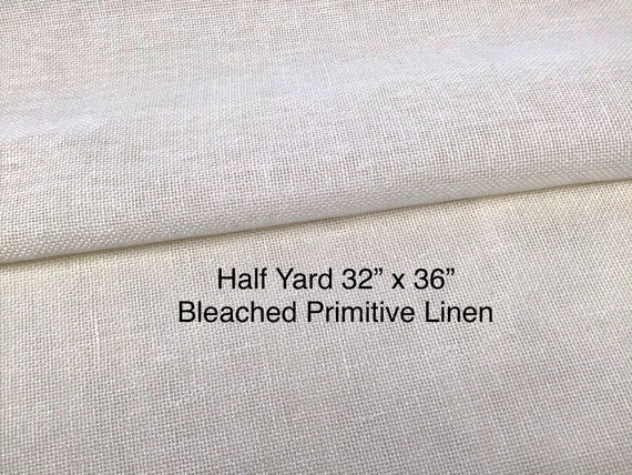 "Half Yard Bleached Primitive Linen for Rug Hooking with Raw Edges, 32"" x 36"", S207, Rug Hooking Foundation Fabric"