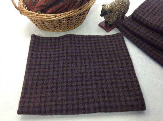 Fat 1/4 yard, Deep Purple Check, Mill Dyed Wool Fabric for Rug Hooking and Applique, W414, purple and black check wool