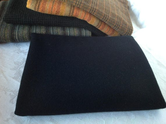 Fat 1/4 yard, Plain Black Wool Fabric, for Rug Hooking and Applique, W315, Solid Black Wool Fabric, Washed Wool Fabric