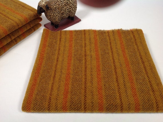 Gold Canyon Stripe, Mill Dyed Wool Fabric for Rug Hooking and Applique, Select-a-size, W453, Deep Gold, Brown, Gold and Orange Stripe