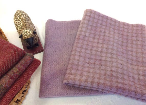 2) Fat Eighths, Lavender Pack, Hand Dyed Wool Fabric for Rug Hooking & Applique, W434, Light purple, Pastel purples