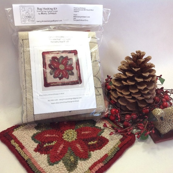 "Rug Hooking KIT, ""Poinsettia Mat"", 8"" x 8"", K108, DIY Rug Hooking Kit, Christmas Rug Mat Kit, Holiday Tea Trivet"