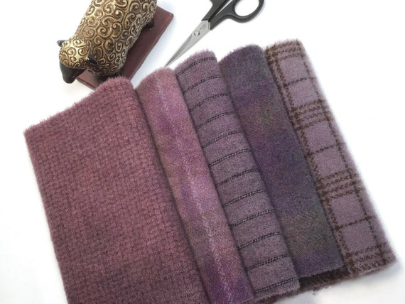 Purple Haze, hand dyed wool fabric for Rug Hooking and Applique, 5) Fat 1/16ths, W606, Primitive Purple, Country Purple