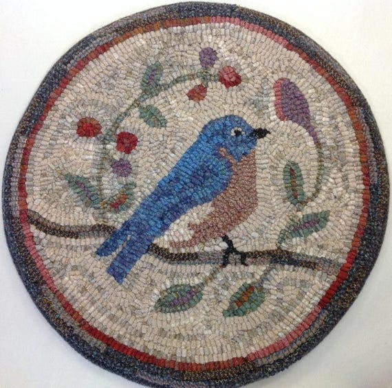 "Rug Hooking PATTERN, Bluebird Chair Pad or Table Mat, 14"" Round, P121, DIY Primitive Bluebird Design"