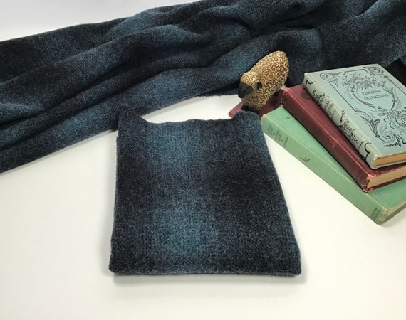 After Hours, a blue and black plaid, mill dyed wool for rug hooking and applique, W509