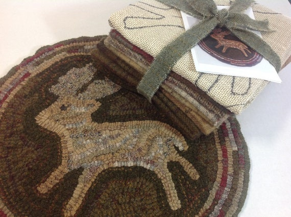 Rug Hooking KIT, Woodland Deer Chair Pad or Table Mat, J756, DIY Rug Hooking Kit, Primitive Rug Hooking