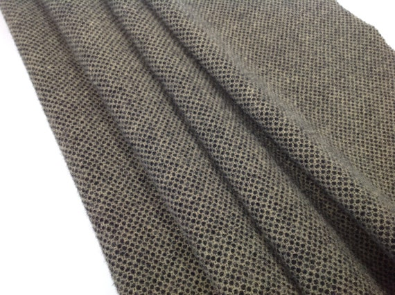 Black and Natural Honeycomb, Mill Dyed Wool Fabric for Rug Hooking and Applique, W587