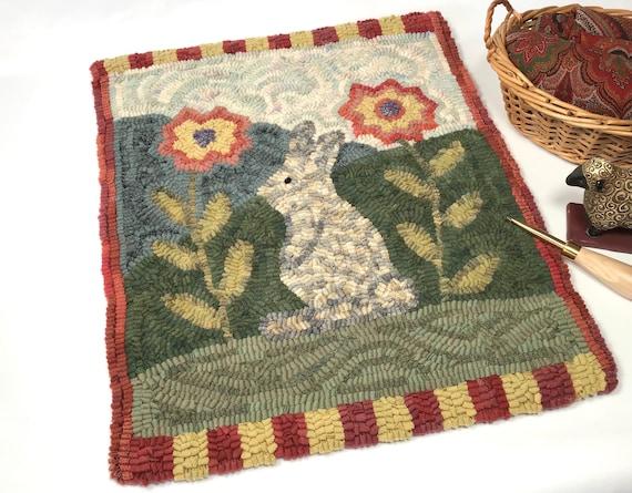 "Plaid Rabbit PATTERN for Primitive Rug Hooking, 15"" x 18"",  P210, DIY wide cut rug hooking, hand drawn pattern, folk art Bunny"