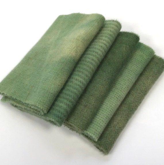 Garden Greens, 5) Fat 1/16ths, hand dyed wool fabric for Rug Hooking and Applique,  W605, Medium Green Wool