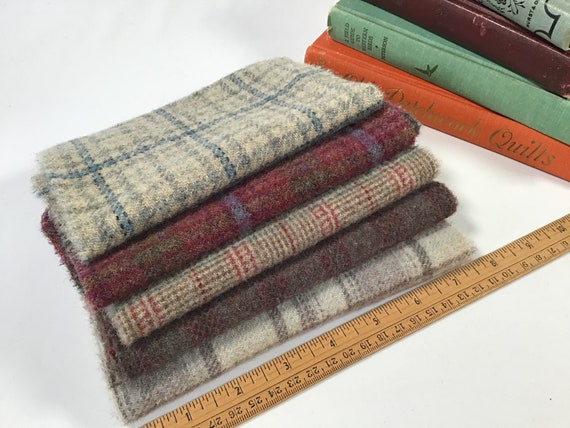 5) fat sixteenths, Primitive Plaids Bundle, Mill Dyed Wool Fabric for Rug Hooking and Applique, W496, wide cut rug hooking, country plaids