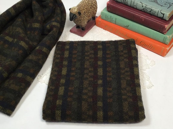 Sleepy hollow, a dark plaid, mill dyed wool for Rug Hooking and Appliqué, W539, washed wool fabric