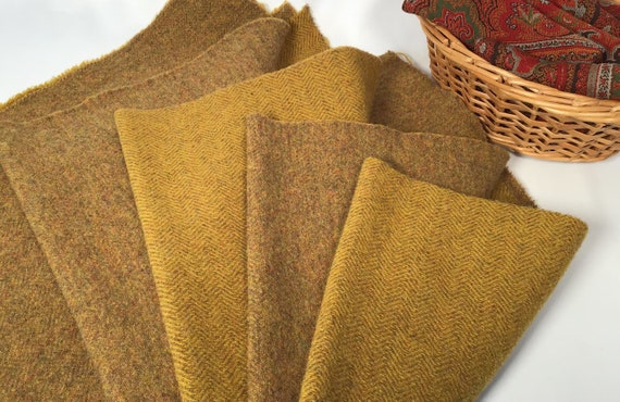 Brandied Pear, a mill dyed wool fabric for Rug Hooking and Applique, W530, Reversible, Primitive Gold, Rich Gold, Autumn Gold