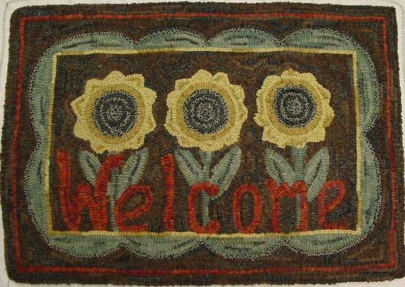 "Rug Hooking PATTERN, ""Sunflower Welcome"" 18"" x 28"" , P191, DIY Rug Hooked Sunflowers, Primitive Sunflowers, Folk Art Design"