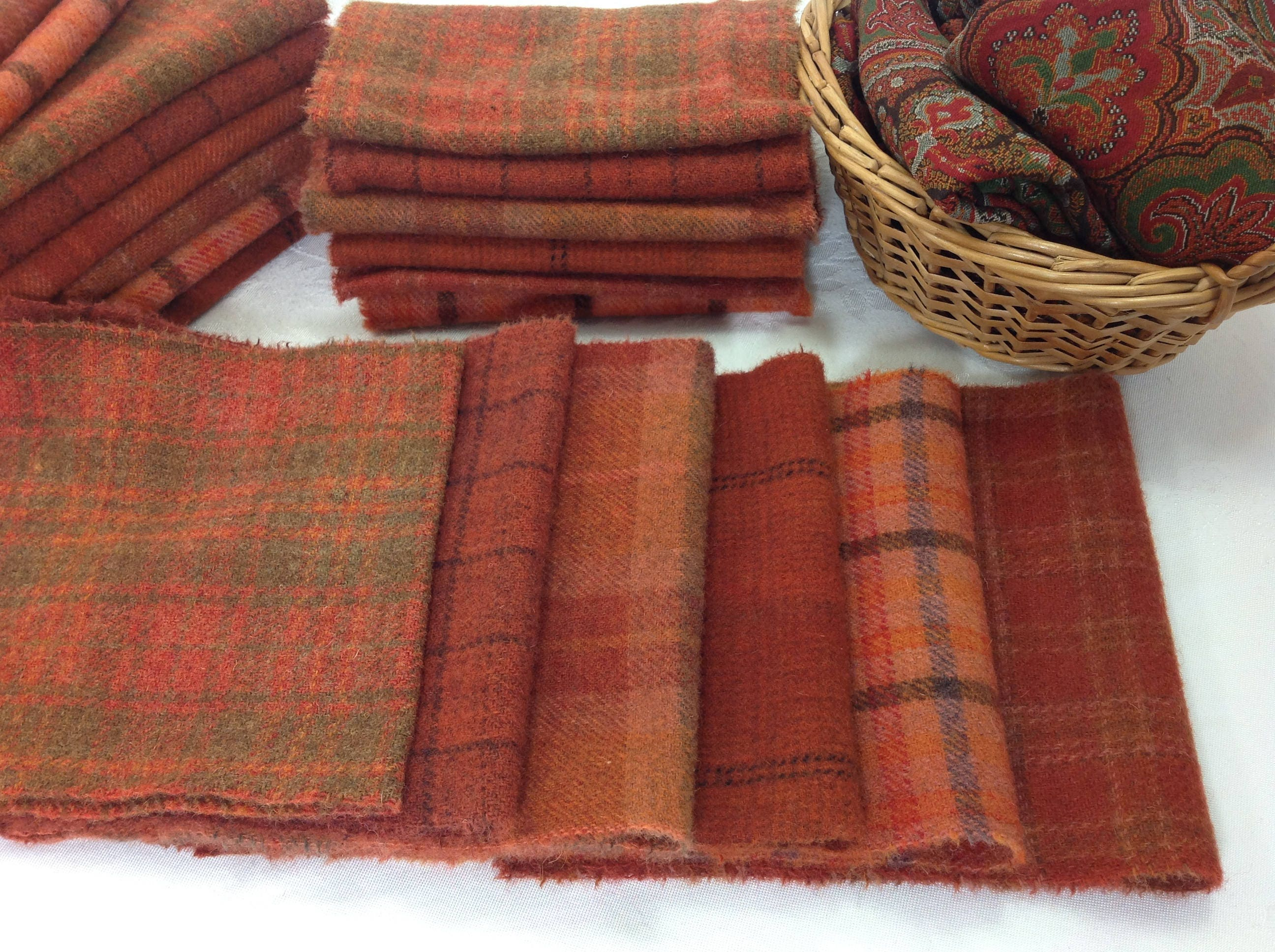 Wool Fabric for Rug Hooking and Applique Red Orange Over Dyed