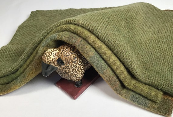 3) Fat 1/8ths, Olive Grove Greens, Wool for Rug Hooking and Applique, W553, Warm Green, Mossy Green, Olive Green