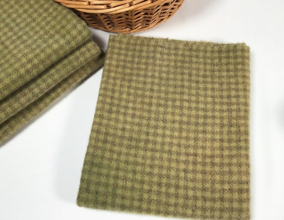 Fat 1/4 yard, Olive Check, Hand Dyed Wool Fabric for Rug Hooking and Applique, W516, pickle green, moss green, pear green