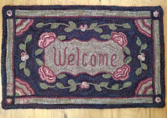 "Rug Hooking Pattern, Welcome Floral 20"" x 32"", J604"