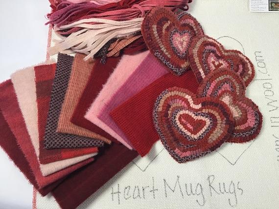 Rug Hooking Kit for Heart Mug Rugs, K129, DIY Primitive Coasters, Folk Art Hearts