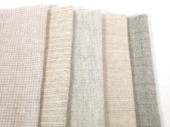 Clouds and Sheep bundle,  Wool Fabric for Rug Hooking and Applique, 5) fat 1/8ths or 5) fat 1/16ths, W474, Creamy whites and grays