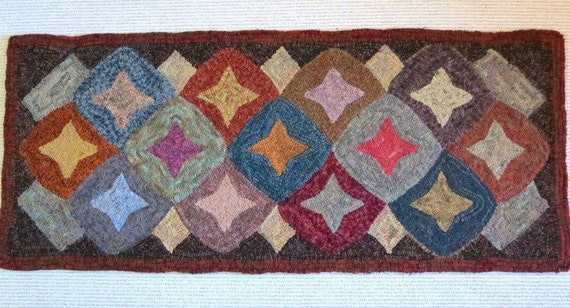 "Rug Hooking PATTERN, Geometric Stars 22"" x 52"", J777, Primitive Wide Cut Rug Hooking Pattern, Folk Art Geometric Pattern"