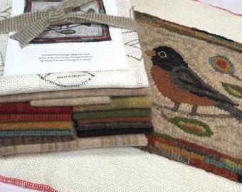 "Rug Hooking KIT, American Robin 10"" x 12"", K132, Folk Art Bird Rug Kit, DIY Primitive Rug Hooking"