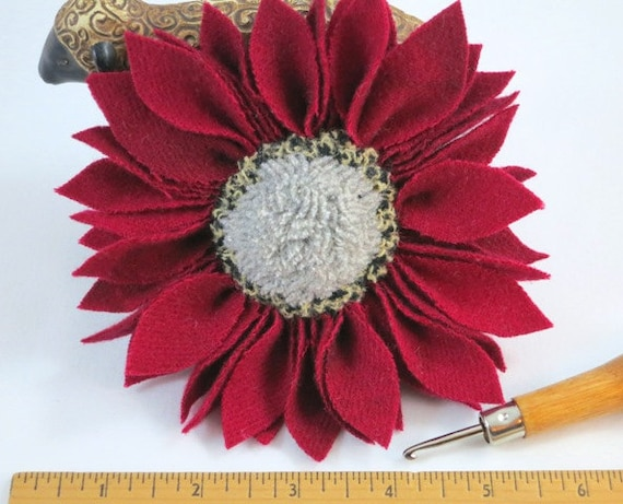 Berry Red Wool Flower Pin with White Center, J522, Hand Hooked and Prodded Pin for Hat, Lapel, Basket, Purse, OOAK