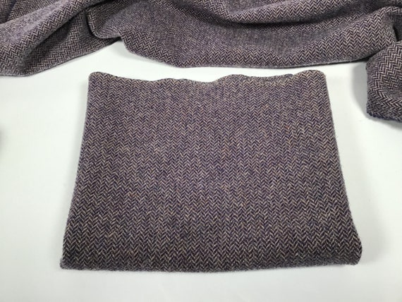 Purple Herringbone, Mill Dyed Wool Fabric for Rug Hooking and Appliqué,  W511,  Dusty Purple, Primitive Purple