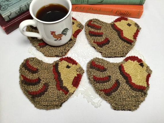 Finished Set of Four, Chicken Mug Rugs, designed and hooked by Mary Johnson, H103, OOAK primitive hooked coasters