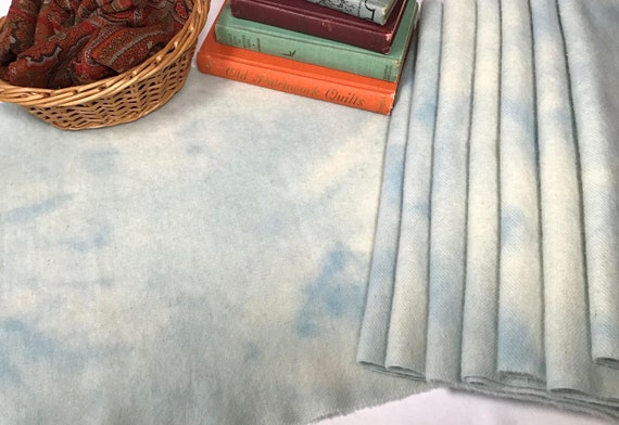 Blue Skies, 1/4 yard, Hand Dyed Wool Fabric for Rug Hooking and Applique, W495, pale blue mottled wool