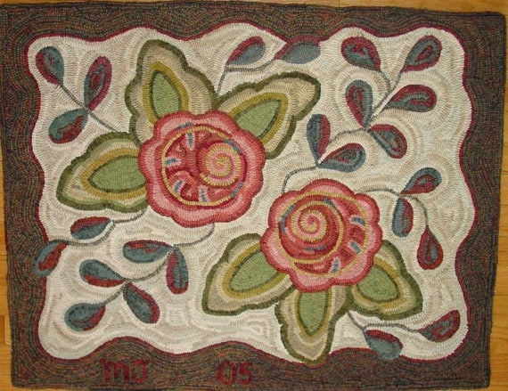 "Rug Hooking Pattern, Primitive Floral #1, 28"" x 36"", P200, DIY Primitive, Wide Cut Rug Hooking Pattern"