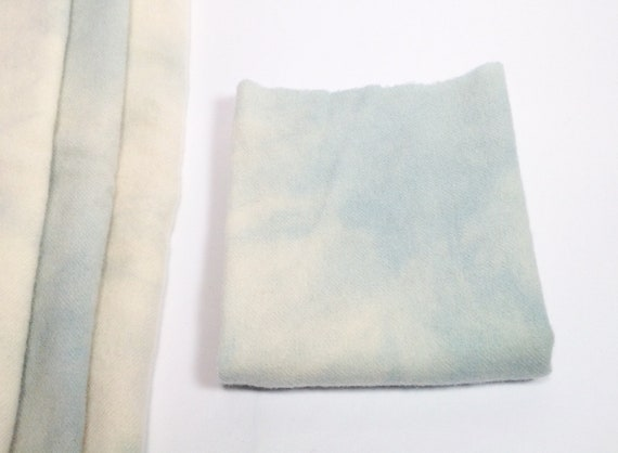 1) Fat 1/4 yard, Sky and Clouds, Hand Dyed Wool Fabric for Rug Hooking and Applique, W506, pale blue wool, blue and cream hand dyed