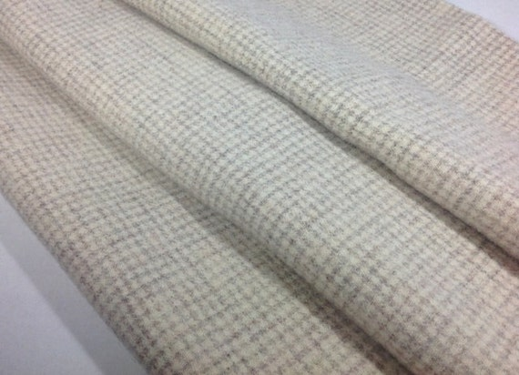 Natural and Gray Check, Wool Fabric for Rug Hooking and Applique, Fat 1/4 yard, J660