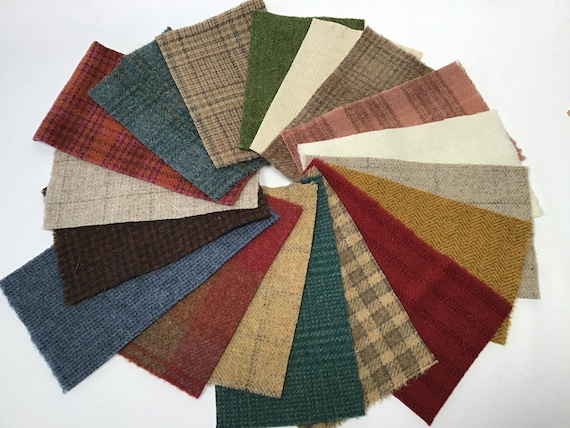Northwoods Wool Scrap Pack, 18 pieces mill dyed wool for Appliqué and Sewing Crafts, W576, colorful mix small wool pieces