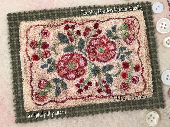 Punch Needle DIGITAL Pattern, Country Garden by Mary Johnson, a digital download pdf pattern