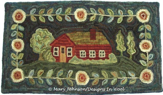 "Rug Hooking Pattern, Home Sweet Home 20"" x 36"", P196, Primitive Rug Design, House and Flowers, Folk Art Pattern, DIY Rug Hooking"