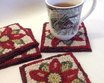 Rug Hooking PATTERN, Poinsettia Mug Rugs, P117,  DIY Christmas project, Holidays, Coasters
