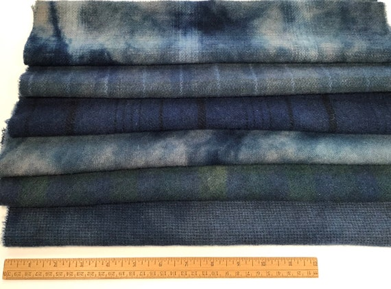 Twilight Blues, 6) fat sixteenths, hand dyed wool fabric for Rug Hooking and Applique, W609, Deep Mottled Blues, Evening Skies