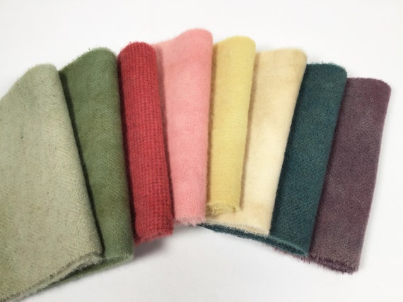 Summer Meadow, 8) 1/16ths, Hand Dyed Wool Fabric for Rug Hooking and Applique, W520,  Spring and Summer Colors, Country Color Bundle