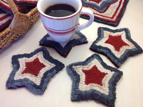 Rug Hooking KIT, Red, White and Blue Mug Rugs, K114, DIY Patriotic Kit, Primitive Rug Hooking, Americana Hooked Stars