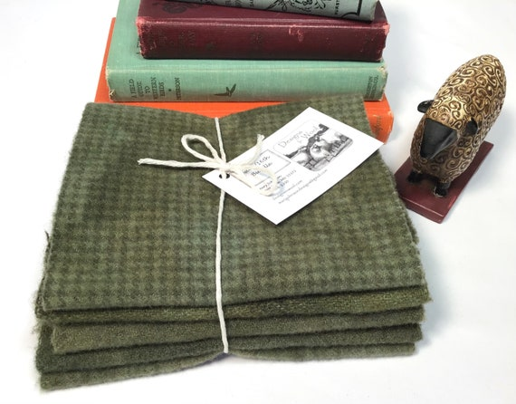 Garden Greens, 5) fat sixteenths, hand dyed wool fabrics for rug hooking and applique, W594, Primitive Green Textures